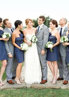 Love the grey suits and blue bridesmaids dresses! -- make the flowers yellow and there's my future wedding colors! Navy Blue Bridesmaids, Grey Bridesmaid Dresses, Wedding Bridesmaids, Blue Dresses, Navy Dress, Bridemaids Shoes, Bridesmaid Colours, Dress Blues, Coral Dress
