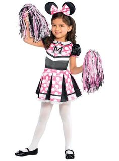 Toddler Girls Sweet Cheerleader Minnie Mouse Costume - Party City