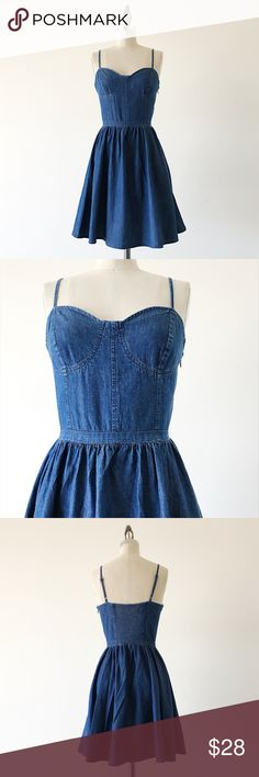 """LAUREN CONRAD   Denim Fit & Flare Dress FEATURES:  •Adjustable spaghetti straps  •Side, hidden zipper  •Smocking on back  •Lined bodice  •100% cotton  •Imported  •Machine Wash  MEASUREMENTS: Bust - 31 1/2"""" (stretches) Waist - 26"""" Hips - 38"""" Length - 34""""  ☑️Very good condition ✖️NO TRADES/RESERVES/MODELING 2017-01-003 LC Lauren Conrad Dresses Mini"""