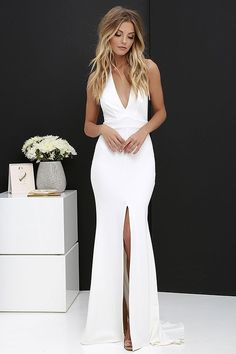 31ba244186b Time Out of Mind Ivory Halter Maxi Dress