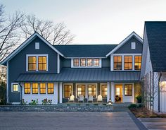 blue house farmhouse casement white windows - Google Search