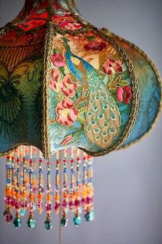 Detail of Bohemian Peacock Vintage Lamp Decor Hand Made by Artist and Designer C .Detail of Bohemian Peacock Vintage Lamp Decor hand-beaded by artist and designer Christine Kilger from Nightshades victorian peacock simple and Shabby Chic, Boho Chic, Lampe Decoration, Bohemian Gypsy, Bohemian Lamp, Vintage Bohemian, Bohemian Interior, Bohemian Style Rooms, Bohemian Apartment