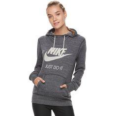 Women's Nike Sportswear Vintage Long Sleeve Graphic Hoodie ($45) ❤ liked on Polyvore featuring tops, hoodies, grey other, long sleeve hoodie, print hoodies, long sleeve hooded sweatshirt, vintage hoodie and gray hooded sweatshirt