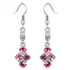 Sweet Bolted Crystal Squares Dangling Earrings - Pink