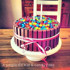 Kit Kat Candy Bar Birthday Cake Makes 1 - round cake This will delight any birthday boy or girl and the M can easily be replaced with another favorite candy. Cakes To Make, How To Make Cake, Chocolate Frosting Recipes, Chocolate Cake, Birthday Treats, Birthday Cake, Baking Recipes, Cake Recipes, Yummy Treats