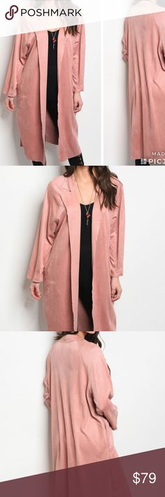 Blush Kimono Duster! Arriving this Friday! Long sleeve Blush Pink, faux suede trench style jacket that features a collard neckline. Perfect addition to any fashionistas wardrobe. Just purchased and will arrive this Friday! Comment below to be notified upon arrival in your size. Sizes will be limited only reviewing 6 of these. Trend Setter Diva Boutique Jackets & Coats