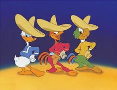 """Donald, Panchito, and Jose from """"The Three Caballeros"""" (1944). Setting: 20th century Latin America."""