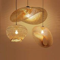 Bambou Rotin En Osier Vague Ombre Pendentif Luminaire Rustique Vintage Japonais Lampe Suspension D'intérieur À La Maison Table À Manger Chambre