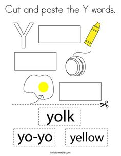 Cut and paste the Y words Coloring Page - Twisty Noodle Letter Y Worksheets, Preschool Worksheets, Y Words, Cut And Paste, Kids Prints, Cursive, Mini Books, Noodle, Coloring Pages