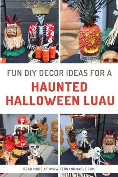 Combine Hawaii with Halloween with this spooky fun Backyard Halloween Luau. DIY decor ideas including Pineapple Jack-o-lanterns, Easy No-Carve Tiki Pumpkins and more! Head over to fernandmaple.com for all the details!