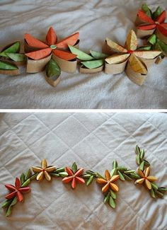 Toilet paper roll TP tube garland tutorial - Now this one is FANCY! Paper Towel Roll Crafts, Paper Towel Tubes, Paper Towel Rolls, Toilet Paper Roll Art, Toilet Paper Roll Crafts, Diy Paper, Cardboard Rolls, Cardboard Crafts, Idee Diy