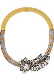 ShouroukTube Aigrette gold-plated, sequin and crystal necklace