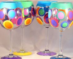 Who could resist these bright fun wine goblets?  Hand painted by the artists at the Detroit Glass Company, they hold 20 ounces of wine, and are dishwasher safe.