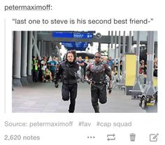 Somehow, Natasha manages to get to Steve first. Sam and Bucky find her there with a smug look on her face.