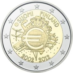 2 Euro Commemorative Coins Finland Ten years of Euro cash Numismatic Coins, D Mark, Money Notes, Euro Coins, Foreign Coins, Gold Money, Commemorative Coins, World Coins, Money Matters