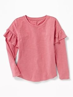 Old Navy Girls' Ruffle-Trim Slub-Knit Tops Dusty Mauve Size Girls Long Sleeve Tops, Stitch Fix Fall, Old Navy Girls, Shop Old Navy, Girls Tees, Ruffle Trim, New Baby Products, Girl Outfits, Cotton