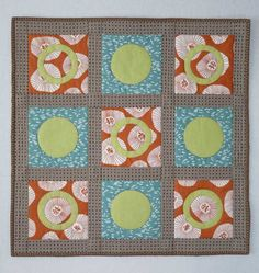 Circles Rings Geometric Contemporary Quilt.