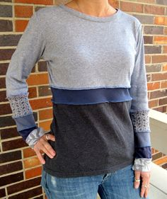 Turnaround Designs Upcycled Gray Blue Tshirt Top, via Etsy.