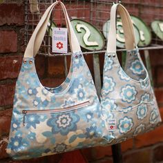 Astrid Hand Bag in Blue / Oilcloth Bag / by susiefaulksdesigns, £50.00