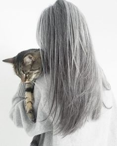 Long natural grey hair is beautiful.