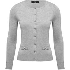 M&Co Bow Pocket Cardigan ($27) ❤ liked on Polyvore featuring tops, cardigans, lightweight cardigan, button cardigan, slim fit cardigan, long sleeve tops and bow top