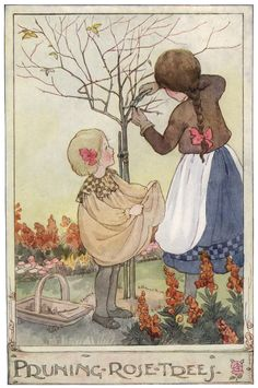 'Pruning Rose Trees'. Anne Anderson illustration scanned from 'The Gillyflower Garden Book', c1915.