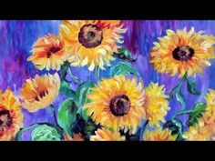 Autum Sunflower Step by Step Acrylic Painting on Canvas for Beginners - YouTube