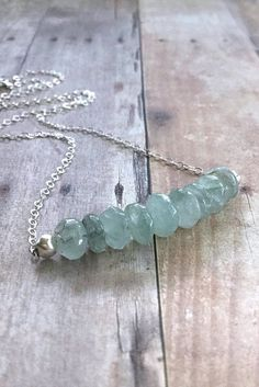 Moss Aquamarine Necklace, Gemstone Bar Necklace, Delicate Sterling Silver Chain, March Birthstone Jewelry