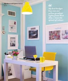 turquoise and yellow office. Great color combo for a happy space.