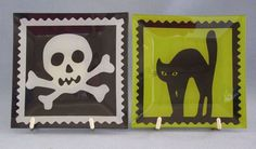 "Halloween Snack Plates Lot Of 2 Black Cat Skull Crossbones 6""x6"" Sqaure New"