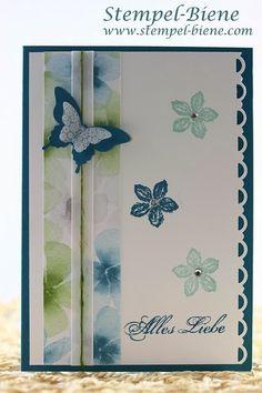 Designerpapier Farbenwunder, Petrol, Flüsterweiß, Petite Petals, Stanze eleganter Schmetterling, Stanze Mini-Schmetterling, Dankeskarte, Sta...