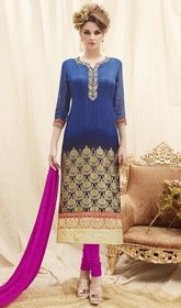 Navy Blue Color Shaded Georgette and Silk Churidar Suit #indianchuridarsuitsonline #churidaronline Get lionized by the fashion society by dressing into this navy blue color shaded georgette and silk churidar suit. The ethnic resham, stones and lace work within the clothing adds a sign of magnificence statement with a look. USD$ 84(Around £ 58 & Euro 64)