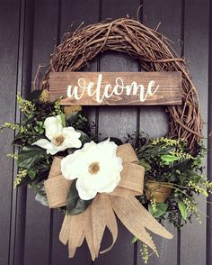 Farmhouse Wreath, wreath, magnolia wreath, Kclee.co, welcome wreath Diy Wreath, Grapevine Wreath, Wreath Ideas, Front Door Decor, Wreaths For Front Door, Thanksgiving Wreaths, Easter Wreaths, Picture Wreath, Homemade Pictures