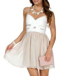 Elly- Ivory/Nude Short Prom Dress on Wanelo