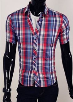 Willstyle Men's Casual Short Sleeve Shirt Red Blue