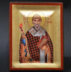 Orthodox Icon Handmade Greek Byzantine Serigraph Saint Spyridon