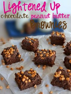 Lightened Up Chocolate Peanut Butter brownies - with two kinds of chocolate, you will never miss the butter in these!