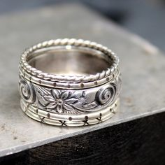 Loreley Jewelry - etsy  Sterling Silver Stacking Rings - Set of five. $58.00, via Etsy.