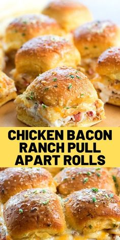 These Chicken Bacon Ranch Pull Apart Rolls are stuffed with chicken, bacon and a generous drizzle of Ranch dressing. Ideal for gameday or grab-n-go treats. Recipes Appetizers And Snacks, Lunch Recipes, Meat Recipes, Dinner Recipes, Cooking Recipes, Healthy Recipes, Good Food, Yummy Food, Recipes