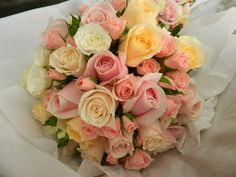 Brides Bouquet of Pale pink, white ,Champagne & peach Roses,Tweed Heads wedding