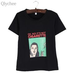 1547c88d6ad Qlychee Smoking Letter Printed T shirt Women Summer Short Sleeve O Neck  Casual Loose Tees Hiphop