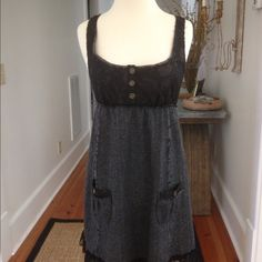 Free People Jumper Herringbone & Lace tailor made jumper from Free People. EUC. Lace bodice and ruffle hem. 10% wool, 90% polyester. Dry clean only. No trades or Paypal please. Free People Dresses