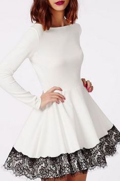 Love the Black Lace Hem! Black and White Women's Chic Long Sleeve Lace Round Neck A-Line Party Dress - if the skirt was just a little longer, I love to have this...