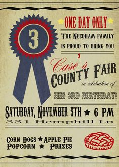 County Fair Birthday Party Invitation by BowPeepandhersheep