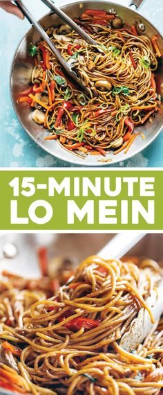15 Minute Lo Mein - Pinch of Yum- 15 Minute Lo Mein! made with just soy sauce, sesame oil, a pinch of sugar, ramen noodles or spaghetti noodles, and any veggies or protein you like. SO YUMMY! Healthy Recipes, Asian Recipes, Vegetarian Recipes, Cooking Recipes, Ethnic Recipes, Vegan Vegetarian, Vegetarian Spaghetti, Vegetarian Lo Mein, Eat Healthy