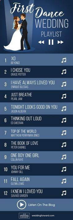 40 First Dance Wedding Songs: Modern & Classic Ideas ? The first dance wedding songs playlist is a help for choice the first dance between a bride and groom as the newlyweds, which is often the first Wedding Party Dance Songs, Wedding Song Playlist, Wedding Music, Music Party, Wedding Parties, Wedding Song List, Wedding First Dance, Party Songs, Party Games