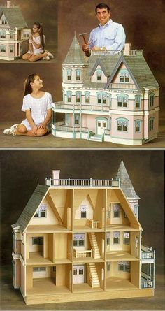 """Queen Anne Dollhouse Kit by Real Good Toys--""""This was always my dream doll house when I was in middle school."""" Link is dead. Vitrine Miniature, Miniature Houses, Miniature Dolls, Dollhouse Kits, Dollhouse Dolls, Dollhouse Miniatures, Dollhouse Design, Miniature Furniture, Doll Furniture"""