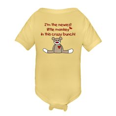I'm the newest little monkey in this crazy bunch! This adorable design with red lettering and a brown sock monkey would make a great Personalized Value Infant Creeper - Banana  and would be a great gift for a new mom or as a gift for a baby shower! It's a great mix of silly and cute. $14.99