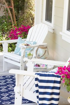 Summer Home Tour 2016 - A Thoughtful Place Beach House Decor, Outdoor Decor, House Tours, Outdoor Chairs, Summer House, Adirondack Chairs, A Thoughtful Place, Cottage Decor, Beach Chairs Diy
