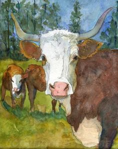 Bulls are able to sire a large number of viable offspring in each mating season. Farm Paintings, Animal Paintings, Western Decor, Western Art, Watercolor Animals, Watercolor Paintings, Bull Painting, Farm Art, Cow Art